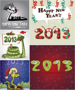 funny-cartoon-snake-2013-new-year-cards-vector